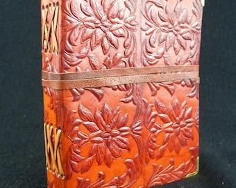 TUDOR Flower - Handmade Leather Journal Diary Book of Shadows - with Tudor Design