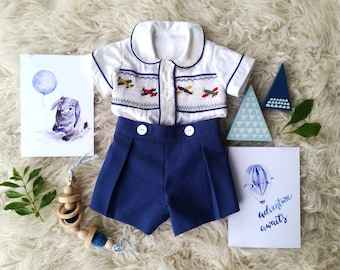 Hand Smocked Romper - just like Prince George!  Train, Boat, yacht, airplane or plain geometric pattern