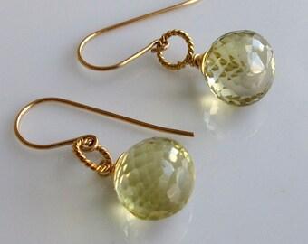AAA Lemon Quartz Earrings on 14K Gold Fill