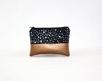 Mini bag - copper of sky dots, bag, cosmetic bag, purse, make-up bag, vegan, minimalist, pouch, pencil case,.