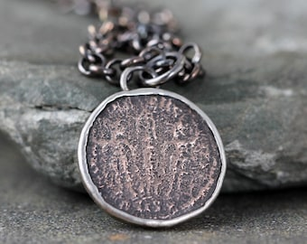 Ancient Coin Necklace - Roman Coin Pendant - Mens Pendant Necklace - Rustic Sterling Silver - Relic Necklace - Coin Collector Gift