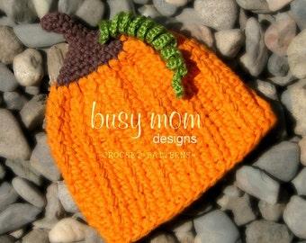CROCHET Pumpkin Hat PATTERN - Li'l Punkin Head - Jack-o'-Lantern Beanie - Straight or scalloped edge - ALL sizes included - pdf 117