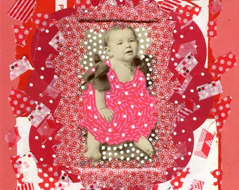 Paper Collage Modern, Red Contemporary Art Piece Over Vintage Found Photography Of A Baby Girl, Retro Original Art Framed On Mounting Board