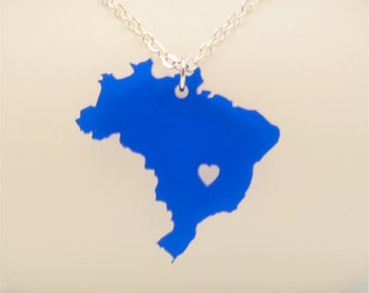 FREE SHIPPING Brazil Necklace, Custom Made Laser Cut  Going Away Gift, FREE Gift Wrap