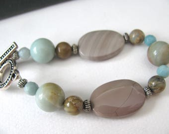 Bracelet, Imperial Jasper, Amazonite, Picture Jasper, 7 inches long, Jewelry supply B-3034