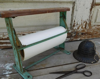 Vintage Paper Roll Dispenser and Cutter, Mercantile Store, Industrial Office