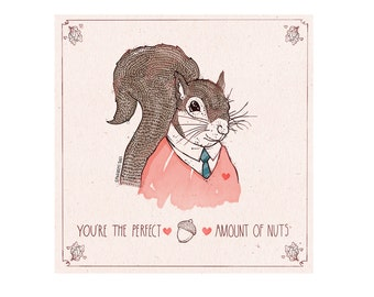 You're the Perfect Amount of Nuts, Sweet Heart, Mother's Day Card, by Spaghetti Toes, Greeting Card with Envelope