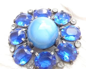 Vintage Paste Rhinestone Blue Glass Signed Pomerantz  Button - Large H. Pomerantz Button