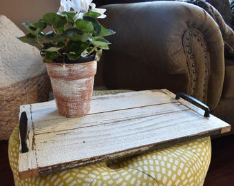 Reversible Farmhouse Serving Tray, wooden tray, tray with handles, rustic home decor. Farmhouse decor, bedroom tray, wedding gift, gift