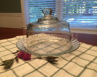 Vintage glass cheesehead dome and fluted plate