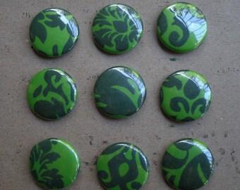 9 Green Wallpaper pin-back buttons