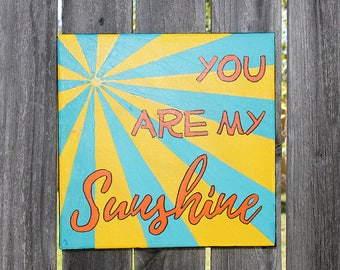You Are My Sunshine - wall art, canvas art, handpainted, kids room decor, nursery canvas, baby shower gift