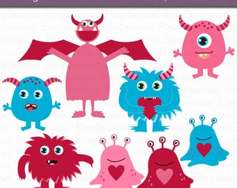 Valentine Monsters Digital Art Set Clipart Commercial Use Clip Art INSTANT DOWNLOAD Monster Clipart Valentines Day Clipart