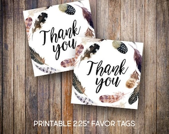 "Feather Favor Tags, 2.25"" Square Tags, Thank You Tag, Rustic Baby Shower Tags, Tribal, Gift Tags,Digital Download, Printable Tags, 805"