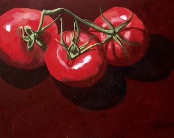 Tomatos on the Vine Realism Fine Art Print, Kitchen Decor, Food Lovers, Italian Kitchen