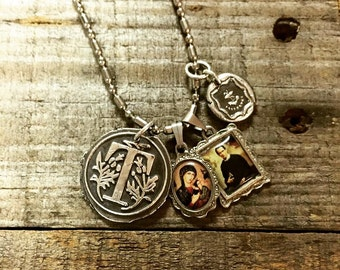 Wax seal initial pendant necklace with religious charms