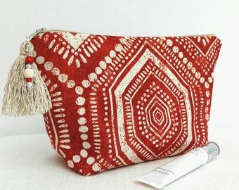 Teen girl Boho makeup bag/ red Bohemian makeup bag/ teen girl gift/ Boho pouch/ tassel and charm/ red boho/ coworker gift/ baby-sitter GIFT