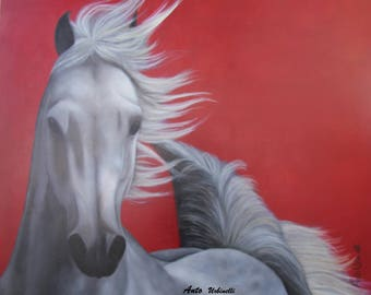 Horse racing on red background
