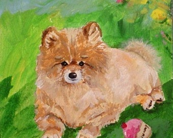 Original Painting * POMERANIAN DOG With CUPCAKE Toy * Small Art Format * Art by Rodriguez