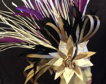 Tahitian & Cook Islands/Rarotongan Authentic Tapa Cloth, Lauhala, Niau And Rooster Tail Feathers Headpiece. Perfect For All Ages!!