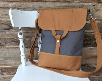 gray and bronze/ochre convertible backpack