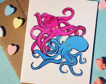 Tangled Octopus Valentine, Love, Cute Card