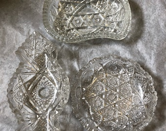 Early American cut glass sawtooth candy dishes