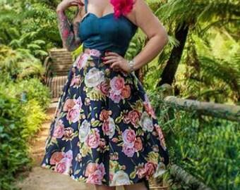 Navy Rose Starla Skirt