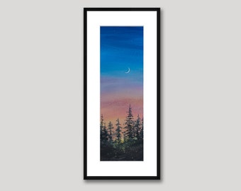 Moon and Stars, Watercolor Print, Sunset Sky, Trees, Blue, Pink Sky