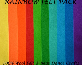 100% Wool Felt Pack Rainbow Tones- Free Shipping in Canada