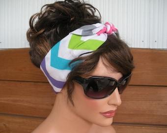 Womens Headband Dolly Bow Headband Retro Summer Fashion Accessories Women Head scarf Headwrap in Multicolor Chevron print