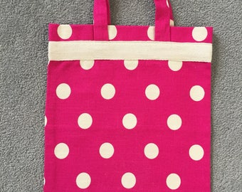 Hot pink dotty kids tote bag