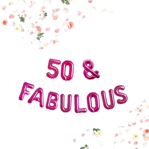 "Fab 50 Birthday: 50 & FABULOUS, 16"", 50TH Birthday Banner Balloons, Gold"