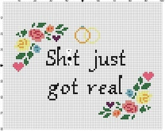 Sh*t just got real- Wedding Cross Stitch Pattern - Instant Download