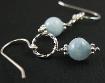 March Birthstone Earrings- Sterling Silver Earrings , Blue Aquamarine , Bridesmaids Gift -Everyday Earrings