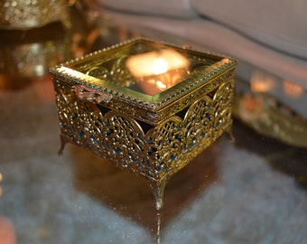 Antique Brass Gilded Gold Jewelry Box
