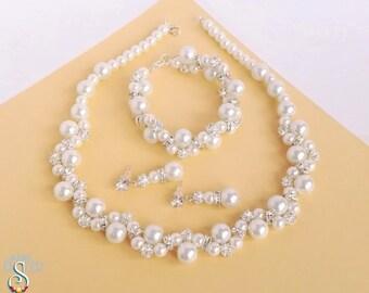 Rhinestones and Pearl Jewelry Set, White Bride Jewelry Set, Bridal Jewelry Set, Wedding Jewelry Set