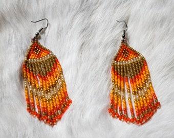Native American Beaded Earrings Orange