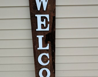 Charming Custom Wood Sign   Repurposed Wood   Welcome Sign   Front Door Sign   Porch  Sign   Large Welcome Sign   Wood Welcome Sign