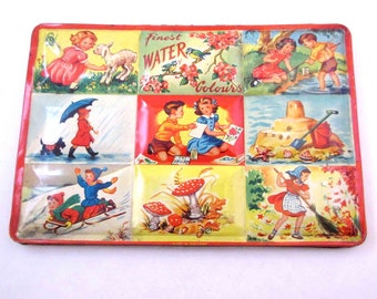 Vintage Children's Tin Litho Finest Water Colours Paint Box Watercolor Tin or Set with Children Seasons Scottie Dog Made in England
