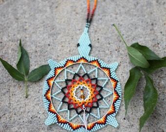 Native American (Oglala Lakota) Handmade Beaded Turtle Dreamcatcher