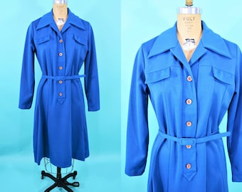 1970s shirt dress | cobalt blue long sleeve button down day dress | vintage 70s dress | W 38""