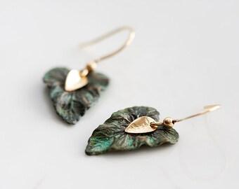 Patina Leaf Earrings Tiny Gold Leaf Verdigris Leaf Dangle Earrings Rustic Little Earrings Leaf Jewelry - E130