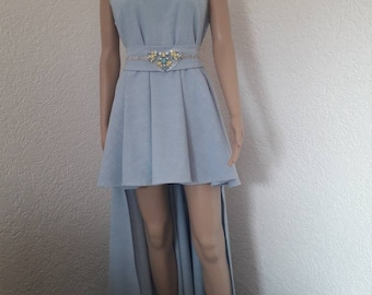 Light blue Sexyabendkleid with stass Swarovsky mullet dress ball gown size 40/42