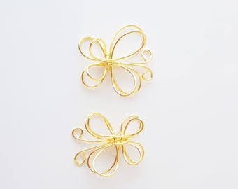 2 end 16 mm gold plated Butterfly charms