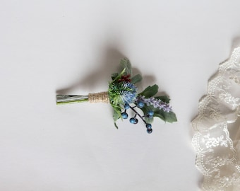 Thistle and Berries Boutonniere. Lavender Boutonniere. Artificial Flowers. Bohemian Wedding Boutonniere
