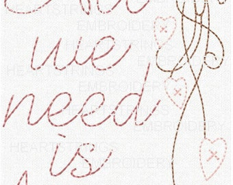 All We Need Is Love Wedding Marriage Hand Stitchery Embroidery Pattern Doodle EPattern Design