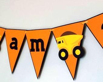 Construction Birthday Banner/ Boy Truck 1st Birthday / Truck Birthday Banner / Orange Yellow Banner/  I am one Truck Birthday/Paper Banner
