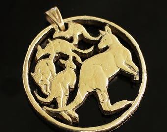 Kangaroos Pendant/Necklace , Hand Cut Australian Kangaroo Coin, 1 dollar