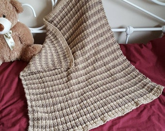 Reversible Earthy Striped Baby Blanket in Brown and Cream